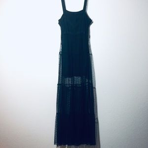Hot Topic Sheer Witchy Goth Black Maxi Dress M